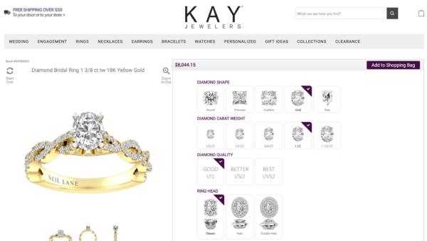 オーダメイド指輪をカスタムできるECサイト:KAY JEWELERS(ケイジュエラーズ)