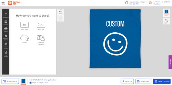 タオルのカスタムができるCUSTOMINKのページ